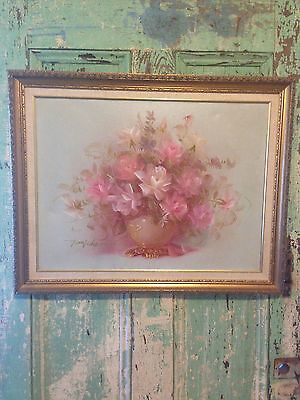 Rose Cottage Shabby Vintage Canvas Signed Pink Cottage Chic Roses Painting