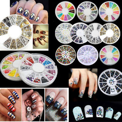 Carrousel 3D Bijoux Ongle Décor Glitter Strass Cristal Fimo Gel UV Tips Nail Art