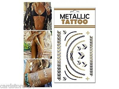 M3 Flash einmal Tattoo Gold Metall Temporary Henna Armband Hals Kette Body SET