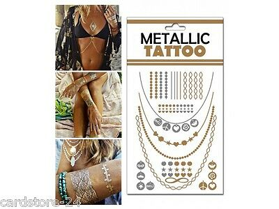 M5 Flash einmal Tattoo Gold Metall Temporary Henna Armband Hals Kette Body SET