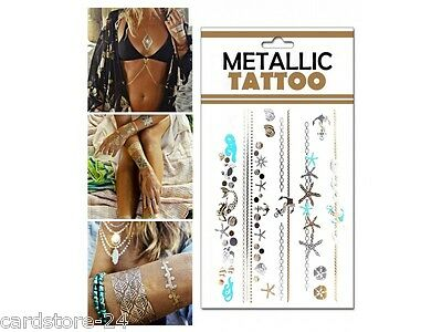 M8 Flash einmal Tattoo Gold Metall Temporary Henna Armband Hals Kette Body SET