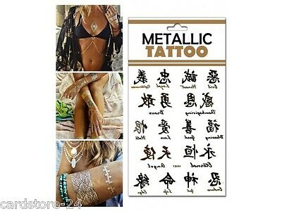 M15  Flash einmal Tattoo Gold Metall Temporary Henna Armband Hals Kette Body SET