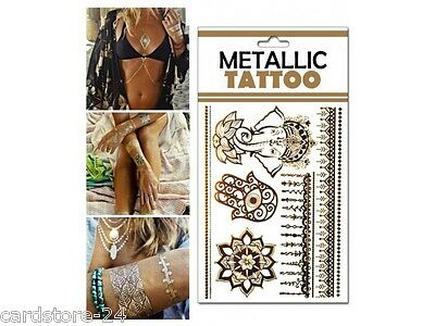 M16  Flash einmal Tattoo Gold Metall Temporary Henna Armband Hals Kette Body SET