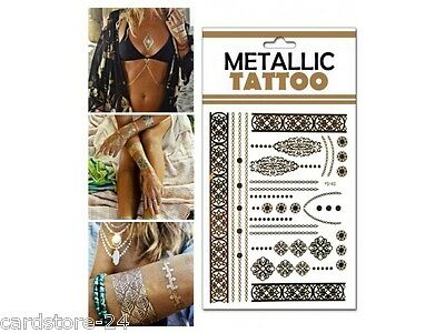 M17  Flash einmal Tattoo Gold Metall Temporary Henna Armband Hals Kette Body SET