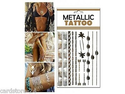 M18  Flash einmal Tattoo Gold Metall Temporary Henna Armband Hals Kette Body SET