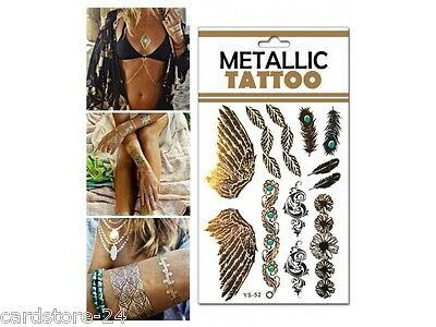 M20  Flash einmal Tattoo Gold Metall Temporary Henna Armband Hals Kette Body SET