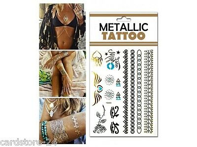 M23  Flash einmal Tattoo Gold Metall Temporary Henna Armband Hals Kette Body SET