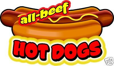 """Hot Dogs All Beef Concession Decal 14"""" Restaurant Food Truck Sticker Sign Menu"""