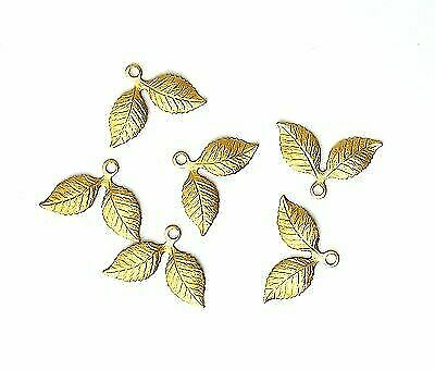 Raw Brass Double Leaf Charms  (6) - S3739