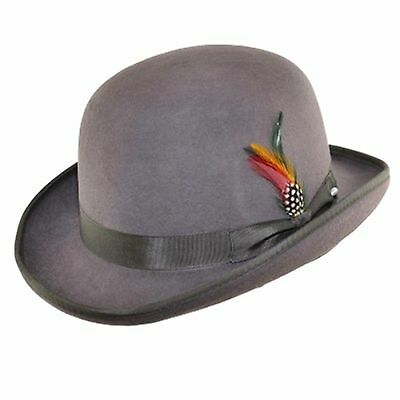 Quality Grey 100% Wool Bowler Hat with Removable Feather Satin Lined in 4sizes