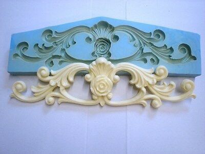 Silicone Rubber Mould Ornate Scrolls With Small Center Rose Resin Plaster