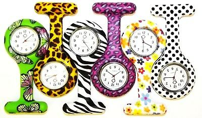 New Fashion Patterned Silicon Brooch Tunic Fob Nurse Watch +1 Free Battery