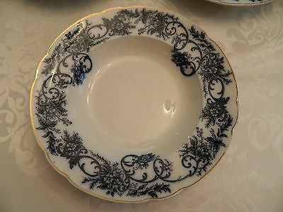 """Flow Blue Wales A. Brothers Rimmed Soup Bowl 10 1/2"""""""
