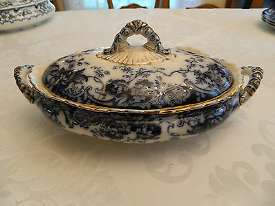 """Flow Blue Chatsworth Late Mayers K & Co. Covered Tureen 12"""""""