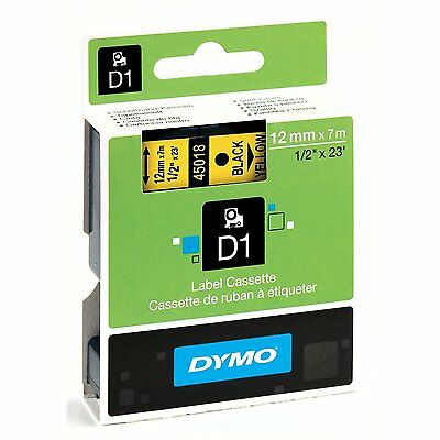 DYMO 45018 Self-Adhesive D1 Polyester Tape for Label Makers Black On Yellow 23ft