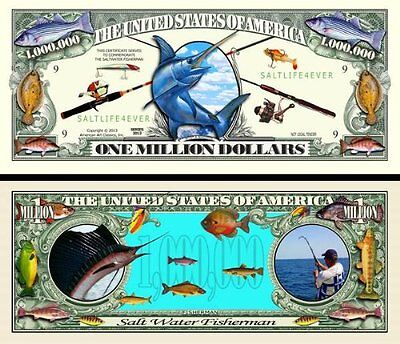 2 Notes Salt Water Fishing Novelty Million Dollar Notes