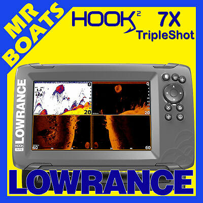 LOWRANCE HOOK2 ✱ 7X TRIPLESHOT ✱ FISHFINDER GPS Plotter 3 in 1 Tranducer Colour