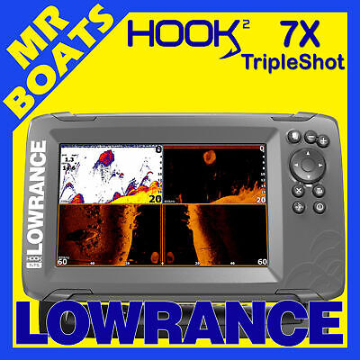 LOWRANCE HOOK2 - 7X TRIPLESHOT - FISHFINDER GPS Plotter 3 in 1 Tranducer Colour