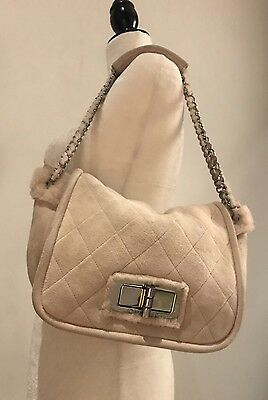 571f745631cc CHANEL - Mademoiselle Beige Suede & Pink Shearling Furry Chain Flap  Shoulder Bag