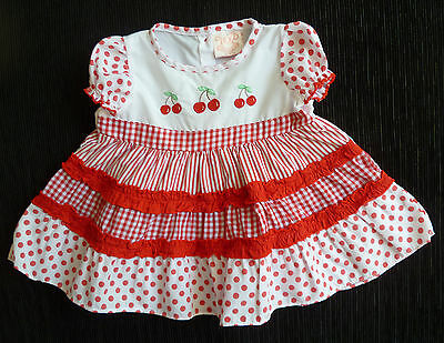 Baby clothes GIRL 6-9m Rock a bye Baby cotton mix dress red/white SEE MY SHOP!