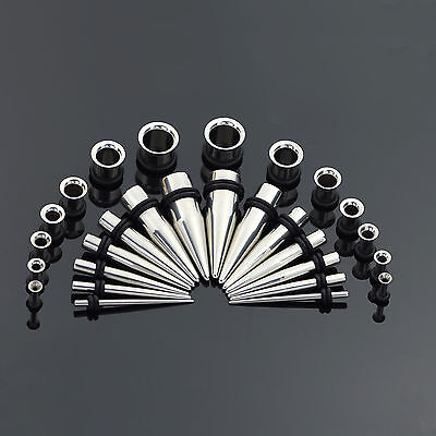 12G-00G Stainless Steel Punk Tapers Stretcher + Ear Flesh Tunnel Plug Piercing