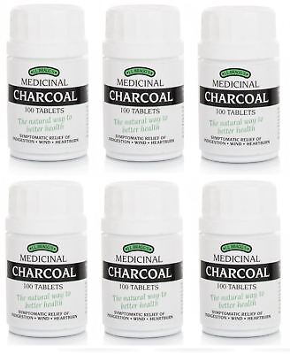Bragg Charcoal 100 Tablets Braggs Lactose Free New Box - 6 Pack