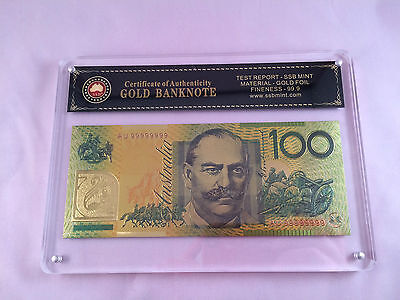 Slabbed/certified Australian Polymer $100.00 24Kt Coloured Gold Foil Banknote