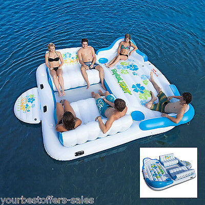 """Giant Inflatable Floating Island 6 Person Raft Pool Lake Float 15'-8""""x 9'-4' NEW"""