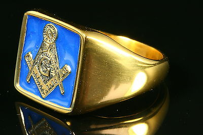24K Yellow Gold Plated Blue Stainless Steel Masonic Ring Various Sizes Gift