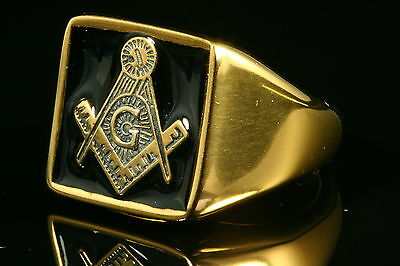 24K Yellow Gold Plated Black Stainless Steel Masonic Ring Various Sizes Gift