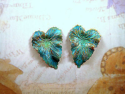 Large Verdigris Patina Brass Ivy Leaves  (2) - VPSG1460