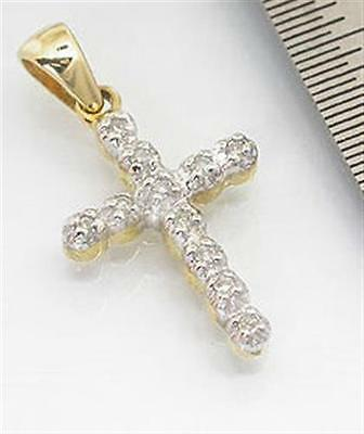 Natural 11 Diamond 9K 9ct 375 Solid Gold Cross Pendant Full Solid Gold GENUINE