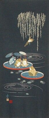 Japanese Cotton Quilt Panel [ Frogs ]