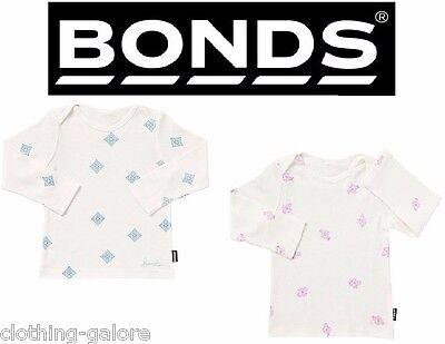Bonds Baby Kids Girls Boys Newbies Long Sleeve Tee Top White Pink Blue Size 0000