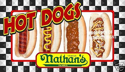 """Hot Dogs Nathan's Decal 14"""" Concession Food Truck Restaurant Vinyl"""
