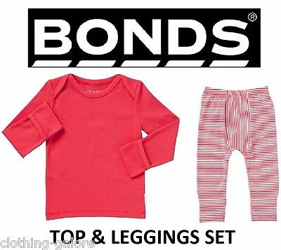 Bonds Baby Boy Girl Cotton Leggings Long Sleeve Set Red White Stripe Size 0000