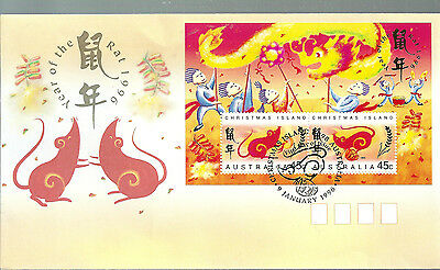 Christmas Is 1996 Year of the Rat Mini Sheet on official first day cover