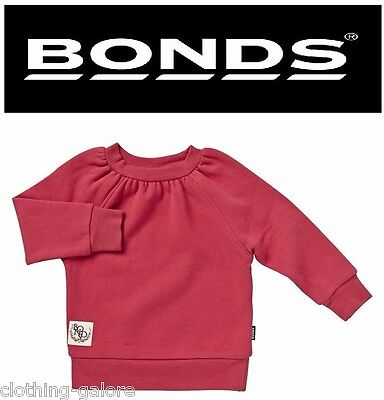 Bonds Baby Girl Long Sleeve Girls Red Jumper Warm Comfortable Top Size 0 1