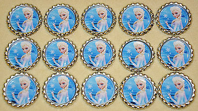 "SET OF 15 /""FROZEN PINK/"" inspired FLAT  BOTTLECAPS for hairbows /& scrapbook"