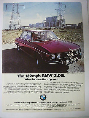 BMW 3.0Si WHEN ITS A MATTER OF POWER BRITISH MAGAZINE COLOUR ADVERTISEMENT
