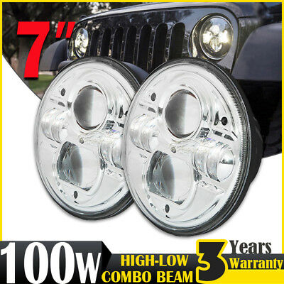 PAIR 7inch 100W H4 CREE LED Driving Light Headlight Lamp For Land Rover Defender