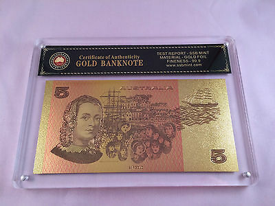 Slabbed/certified Australian Paper $5.00 24Kt Coloured Gold Foil Banknote