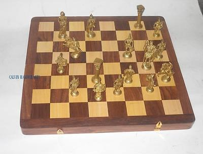 Vintage Antique Chess Game With Solid Brass Player -Wooden Game