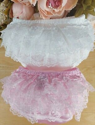 Baby Girl Ivory Satin Lace Frilly Pants Knickers Christening sizes 0-6-12m