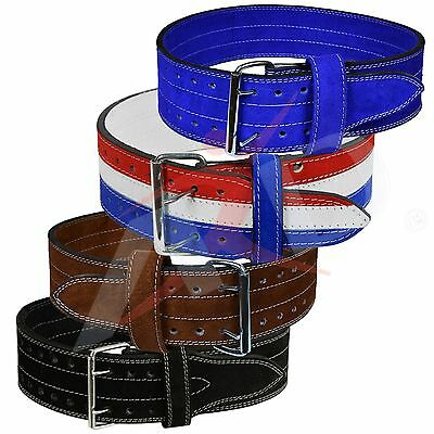 4Fit Genuine Leather Power Heavy Duty Weight Lifting Body building Belt Colors
