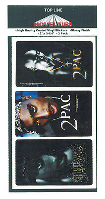 """Lot of 12, 2PAC/Tupac 1-15/16"""" X 3-1/4"""" Stickers, 4 of Each Design, BRAND NEW"""