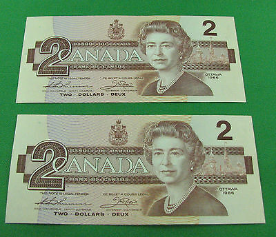 2x 1986 $2  Bank of Canada BC-55b BGT  Thiessen Crow 2x small B UNC consecitve