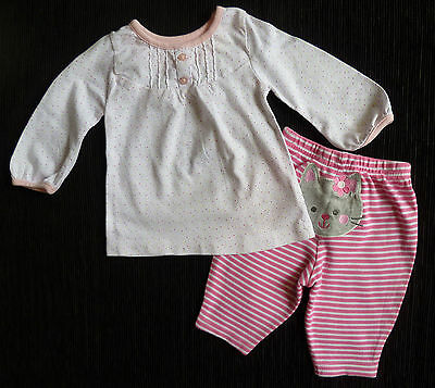 Baby clothes GIRL 0-3m dress-style top/pink stripe leggings 2nd item post-free!