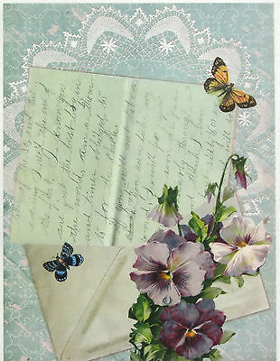 Rice Paper -Letter and Flower- for Decoupage, Scrapbooking Sheet