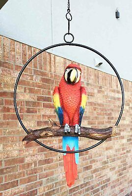 Scarlet Macaw Parrot Bird Perching on Branch Hanging Patio Garden Figurine